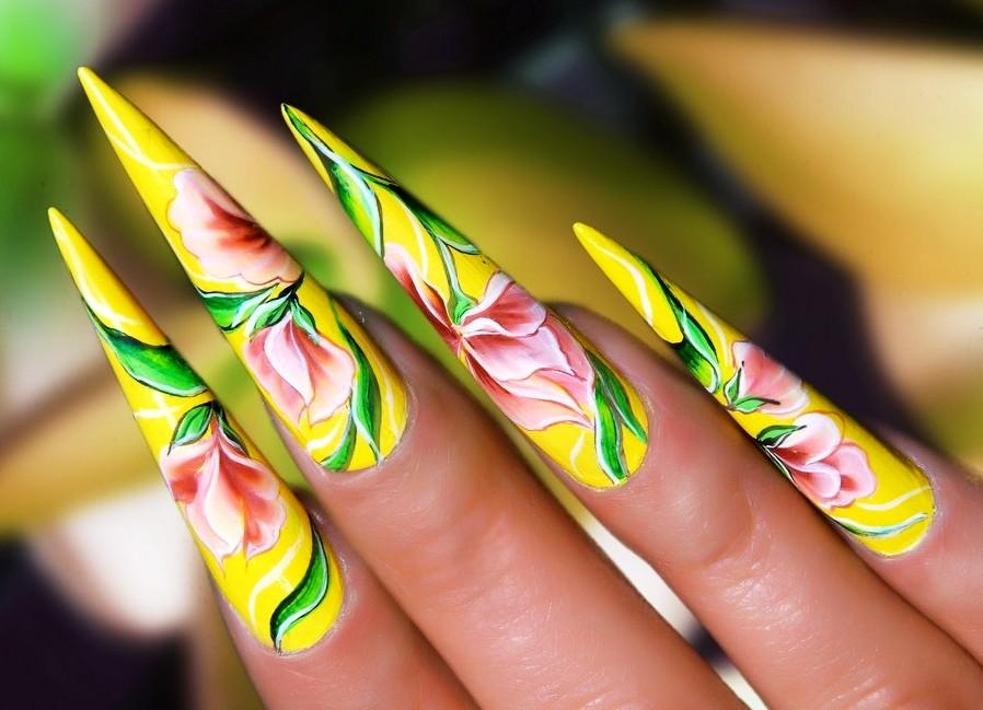 , дизайн ногтей акриловыми красками фото